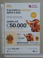 PORTUGAL   2020 - CARTAZ DE LOTARIA POPULAR - FORMATO A4 -  DOBRA AO MEIO -  2 SCANS  -  10ª  - (Nº35891) - Lottery Tickets