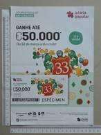 PORTUGAL   2020 - CARTAZ DE LOTARIA POPULAR - FORMATO A4 -  DOBRA AO MEIO -  2 SCANS  -  11ª  - (Nº35892) - Lottery Tickets