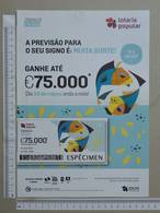 PORTUGAL   2020 - CARTAZ DE LOTARIA POPULAR - FORMATO A4 -  DOBRA AO MEIO -  2 SCANS  -  12ª  - (Nº35893) - Lottery Tickets