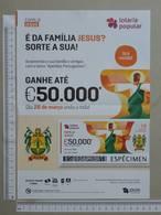 PORTUGAL   2020 - CARTAZ DE LOTARIA POPULAR - FORMATO A4 -  DOBRA AO MEIO -  2 SCANS  -  13ª  - (Nº35894) - Lottery Tickets
