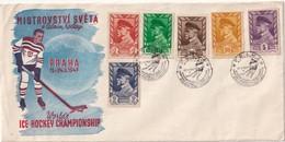 TCHECOSLOVAQUIE 1947 LETTRE ILLUSTREE DE  PRAHA THEME HOCKEY SUR GLACE - Tchécoslovaquie