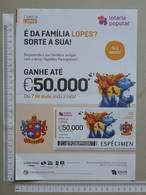 PORTUGAL   2020 - CARTAZ DE LOTARIA POPULAR - FORMATO A4 -  DOBRA AO MEIO -  2 SCANS  -  19ª  - (Nº35895) - Lottery Tickets