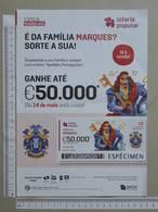 PORTUGAL   2020 - CARTAZ DE LOTARIA POPULAR - FORMATO A4 -  DOBRA AO MEIO -  2 SCANS  -  20ª  - (Nº35896) - Lottery Tickets