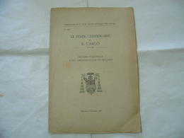 LETTERA PASTORALE LE FESTE CENTENARIE DI S.CARLO  DIOCESI DI MILANO 1909 - Religion