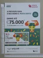 PORTUGAL   2020 - CARTAZ DE LOTARIA POPULAR - FORMATO A4 -  DOBRA AO MEIO -  2 SCANS  -  21ª  - (Nº35897) - Lottery Tickets