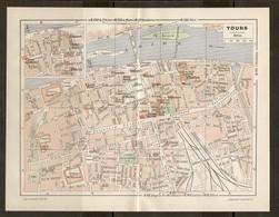 CARTE PLAN 1948 - TOURS - CASERNES ÉCOLE De MÉDECINE ILE AUCARD ILE SIMON HOTEL GOUIN - Topographical Maps