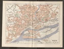 CARTE PLAN 1948 - NANTES - STADE NANTAIS LA VILLE EN PAILLE PARC Des DERVALLIERES LA VILLE Aux ROSES - Topographical Maps