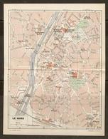 CARTE PLAN 1948 - LE MANS - USINE à GAZ USINE ÉLECTRIQUE AUTOGARE MANUFACTURE De TABACS HALLES Aux TOILES - Topographical Maps