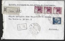 """STORIA POSTALE REPUBBLICA - ANNULLO """" ROMA*SENATO* 29.5.50"""" SU RACCOMANDATA A.R. PER CITTA' - 6. 1946-.. Repubblica"""
