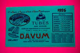 Buvard Tubes DAVUM, Mars, Avril, Mai 1926, Usine De Vincey, Vosges - Blotters