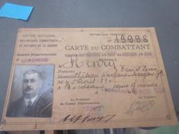 Carte De Combattant - 1914-18