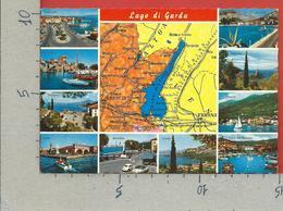 CARTOLINA NV ITALIA - LAGO Di GARDA - Cartina Geografica - Vedutine Multivue - 10 X 15 - Mapas