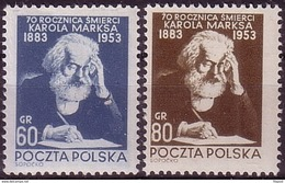 1953 Poland Mi 795 - 796  K. Marx,  Writer., Communism Politician. MNH** - Karl Marx