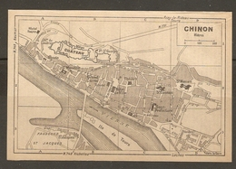 CARTE PLAN 1948 - CHINON - CHATEAU GRAND CARROI CHATEAU Du COUDRAY THÉATRE - Topographical Maps