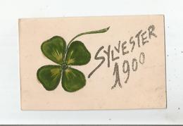 SYLVERSTER  CARTE FANTAISIE AVEC PAILLETTES ET TRFLE A 4 FEUILLES (DECOUPIS) 1900 - Voornamen