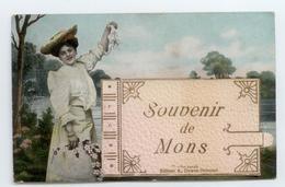 1908 TRES RARE CPA SYSTEME 4 VUES BELGIQUE SOUVENIR DE MONS EDITEURS DUWEZ DELCOURT BE - Belgique