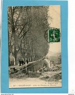 SOLLIES PONT-allée Des Platanes De L'enclos -beau Plan-promeneurs Et Lavandière-a Voyagé En 1912-édit Bougault - Sollies Pont