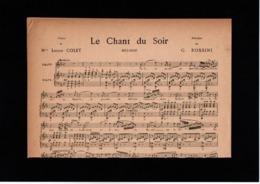 Partition Chant Piano Année 1892 Le Chant Du Soir Louise Colet G. Rossini - Scores & Partitions