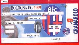 C0897 - Collectible FOOTBALL TICKET Stub - UEFA CUP 1999: Bologna Vs Anderlecht - Autres