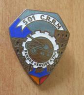 Insigne Militaire De La 501° Compagnie Renforcée De Réparation Du Matériel (501 CRRM) - Métal Patine Bronze - DRAGO - Army