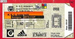 C0899 - Collectible FOOTBALL TICKET Stub - UEFA CUP 1999: Anderlecht Vs Bologna - Autres