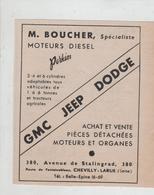 GMC Jeep Dodge Boucher Moteurs Diesel Chevilly La Rue - Pubblicitari