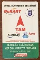 TURQUIE BURSA BUKART TITRE DE TRANSPORT MAGNÉTIQUE QUE POUR LA COLLECTION - Tramways