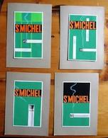 St. Michel (Cigarettes) - 4 Draft Poster In Gouache - 160 X 95 Mm - Objets Publicitaires
