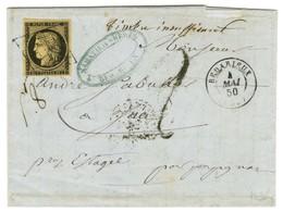 Grille / N° 3 Noir Sur Chamois Càd T 15 BEDARIEUX (33) Sur Lettre 2 Ports Insuffisamment Affranchie Pour Estagel. Au Rec - 1849-1850 Ceres
