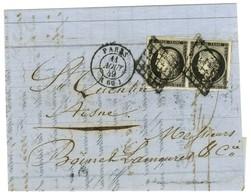 Grille / N° 3 Noir Intense Sur Blanc Paire Càd T PARIS (60) Sur Lettre Pour Saint Quentin. 1849. - TB. - 1849-1850 Ceres