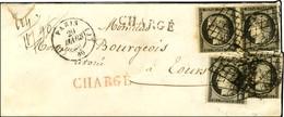 Grille / N° 3 (4) (2 Ex Pd) Càd (J) PARIS (J) 60 Sur Lettre 2 Ports Chargée Pour Tours. 1849. (Ex Collection Dubus). - T - 1849-1850 Ceres