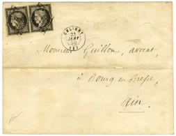 Grille / N° 3 (2) Càd T 15 COLIGNY (1) Sur Lettre 2 Ports Pour Bourg En Bresse. 1850. - TB / SUP. - 1849-1850 Ceres