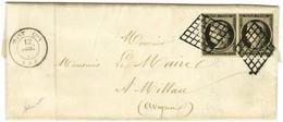 Grille / N° 3 Paire Càd T 15 MONTLUCON (3) Sur Lettre Avec Texte Et Bel En-tête Imprimé Adressé En Double Port à Millau. - 1849-1850 Ceres