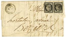 Grille / N° 3 Paire (1 Ex Infime Def) Càd T 15 ST GERVAIS-S-MARE 33 Sur Lettre 2 Ports Pour Béziers. 1849. - TB / SUP. - 1849-1850 Ceres