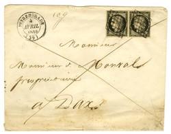 Grille / N° 3 Paire Càd T 14 PEYREHORADE (39) Sur Lettre 2 Ports Pour Dax. 1849. - TB / SUP. - 1849-1850 Ceres
