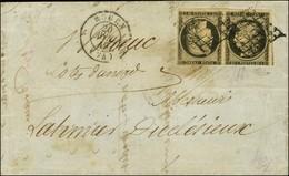 Grille / N° 3 Paire Tête Bêche (def) Càd T 15 ROUEN (74) Sur Lettre 2 Ports Pour Saint Brieuc. 1849. - TB. - R. - 1849-1850 Ceres