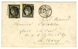 Grille / N° 3 (2) Càd T 15 RAON-L'ETAPE (82) Sur Lettre 2 Ports Pour Nancy. 1849. - TB / SUP. - 1849-1850 Ceres
