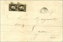 Grille / N° 3 Paire Coin De Feuille Belles Marges Càd T 15 ST ETIENNE (84) Sur Lettre 2 Ports Pour Lyon. 1849. - TB / SU - 1849-1850 Ceres