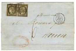 Grille / N° 3 Paire Càd PARIS (60) Sur Lettre 3 Ports Insuffisamment Affranchie Pour Rouen Taxée 6. 1850. - TB. - R. - 1849-1850 Ceres