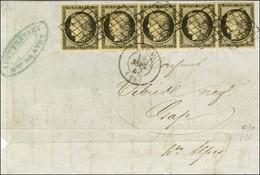 Grille / N° 3 Bande De 5 Càd T 15 LYON (68) Sur Devant De Lettre Avec Rabat Pour Gap. Au Verso, Càd D'arrivée. 1849. - T - 1849-1850 Ceres