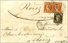 Grille / N° 3 + 5 (2) (1 Ex Def) Càd T 15 LYON (68) Sur Lettre 3 Ports Pour Rodez. 1850. Exceptionnel Affranchissement C - 1849-1850 Ceres