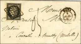 Grille / N° 3 Càd T 15 METZ (55) 4 JUIL. 50 Sur Lettre Avec Texte Insuffisamment Affranchie (tarif Du 1er Juillet 50 à 0 - 1849-1850 Ceres