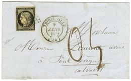 Grille / N° 3 (leg Def) Càd T 14 THIBERVILLE (26) 9 JANV. 1852 Sur Lettre Insuffisamment Affranchie Pour Pont Lévèque Ta - 1849-1850 Ceres
