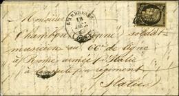 Grille / N° 3 Càd T 14 L'ARBRESLE (68) 18 DEC. 1849 Sur Lettre Avec Texte Adressé Au Tarif De Militaire à Un Musicien Au - 1849-1850 Ceres