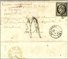 Grille / N° 3 Càd T 15 VALOGNES (48) 30 NOV. 49 Sur Lettre Insuffisamment Affranchie Pour Malines (Belgique) Taxée 4 Au  - 1849-1850 Ceres