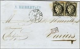 Grille / N° 3 (2) Càd T 15 ELBEUF (74) Sur Lettre Pour Verviers (Belgique). Au Verso, Càd D'arrivée 9 DEC. 1849. - TB. - - 1849-1850 Ceres