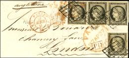Grille / N° 3 (4) (2 Ex Infimes Def) Càd Rouge (E) PARIS (E) 60 26 AVRIL 50 Sur Lettre Pour Londres. Au Verso, Càd D'arr - 1849-1850 Ceres