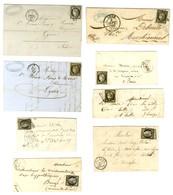Lot De 8 Lettres Diverses Affranchies Avec 20c Noir. - B / TB. - 1849-1850 Ceres