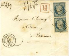PC 3522 / N° 4 Paire (1 Ex Infime Def) Càd T 15 VERDUN-S-MEUSE Sur Lettre Recommandée Pour Varennes. 1852. - TB / SUP. - - 1849-1850 Ceres