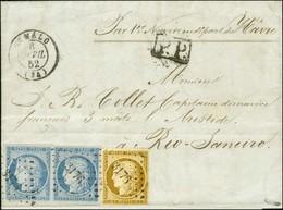 PC 3176 / N° 1 + N° 4 Paire (les 3 Ex Belles Marges) Càd T 15 ST MALO (34) + P.P. Sur Lettre Avec Texte Adressée Par La  - 1849-1850 Ceres